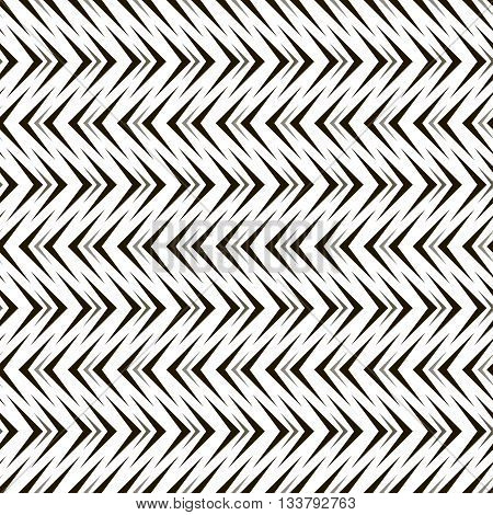 Abstract seamless geometric black and white pattern of arrow shaped elements. Repeating different sized pointer-shaped figures. Endless graphic print. Vector illustration for various creative projects