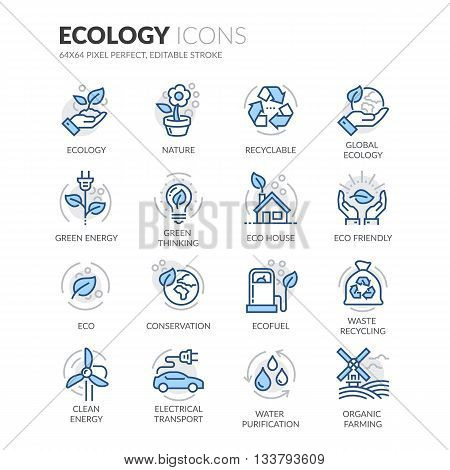 Simple Set of Ecology Related Color Vector Line Icons. Contains such Icons as Recyclable, Eco House, Green Thinking and more. Editable Stroke. 64x64 Pixel Perfect.