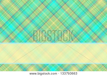Cyan and vanilla checkered illustration with vanilla colored banner