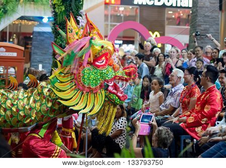 Huahin Thailand - 6 FEB 2016:The show of chinese Golden Dragon Celebrate Chinese New Year night scene at Market village mall huahin on 6 feburary 2016