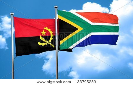 Angola flag with South Africa flag, 3D rendering