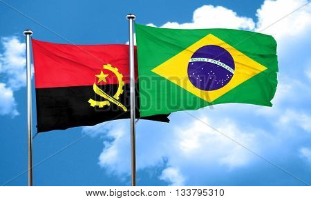 Angola flag with Brazil flag, 3D rendering