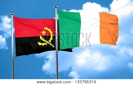 Angola flag with Ireland flag, 3D rendering