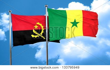 Angola flag with Senegal flag, 3D rendering