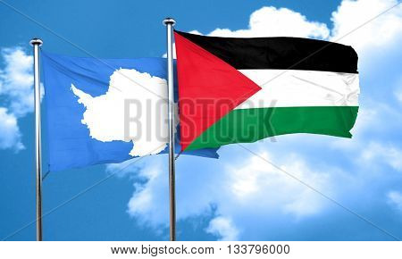 antarctica flag with Palestine flag, 3D rendering