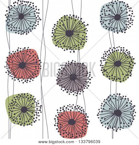 Retro pattern of stylized flowers, eps10 vector