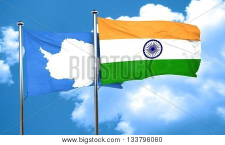 antarctica flag with India flag, 3D rendering