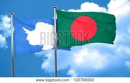 antarctica flag with Bangladesh flag, 3D rendering