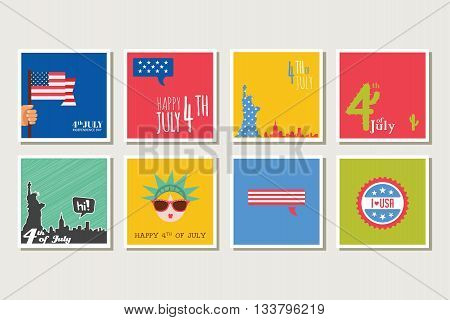 set of cards and invitations for 4th of July, independence day of USA America. vector illustration