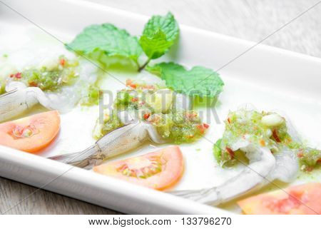 shrimp in fish sauce ,Thai food made of fresh shrimp and spicy sauce