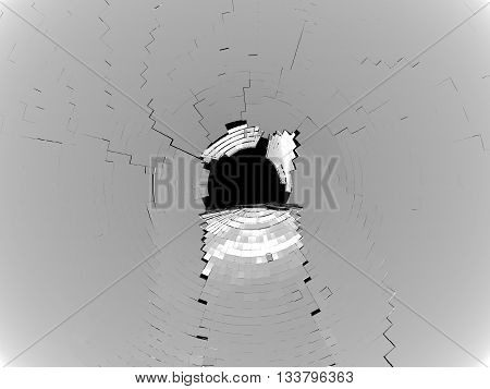 Cubic Pieces Of Grey Shattered Glass Isolated