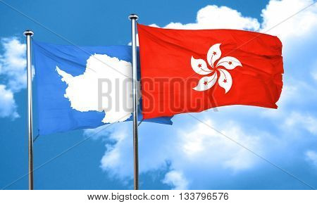antarctica flag with Hong Kong flag, 3D rendering