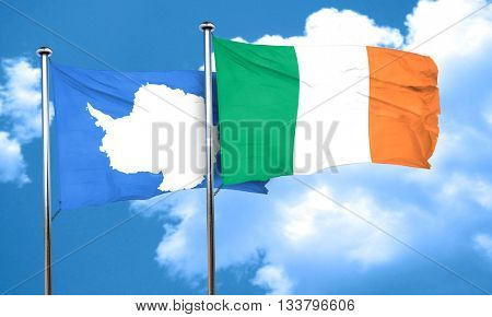 antarctica flag with Ireland flag, 3D rendering