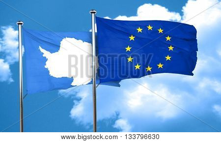 antarctica flag with european union flag, 3D rendering
