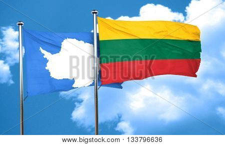 antarctica flag with Lithuania flag, 3D rendering