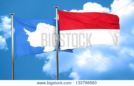 antarctica flag with Indonesia flag, 3D rendering