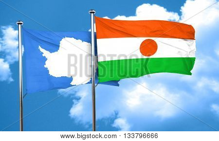 antarctica flag with Niger flag, 3D rendering