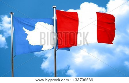 antarctica flag with Peru flag, 3D rendering