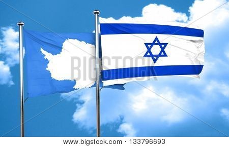 antarctica flag with Israel flag, 3D rendering