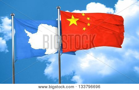 antarctica flag with China flag, 3D rendering