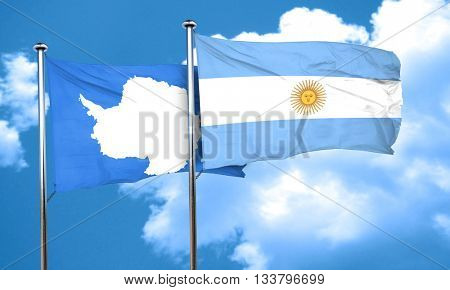 antarctica flag with Argentine flag, 3D rendering