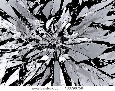 Sharp Broken Or Shattered Glass Isolated
