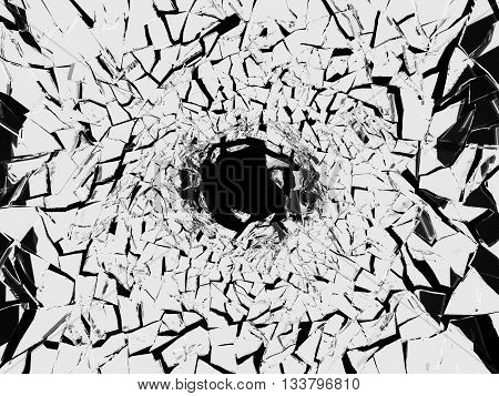 Shattered White Glass Pattern And Hole On Black