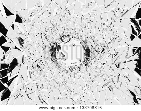 Shattered White Glass: Sharp Pieces And Hole