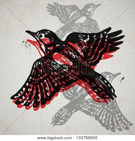 Vector woodpeckers in abstract composition. Linocut woodpeckers in flight in different colors on the old paper