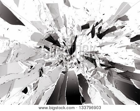 Broken Shattered Glass Pieces Isolated