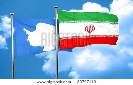 antarctica flag with Iran flag, 3D rendering