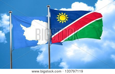 antarctica flag with Namibia flag, 3D rendering