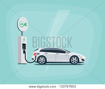 Electric Car Charging At The Charging Station On Color Background