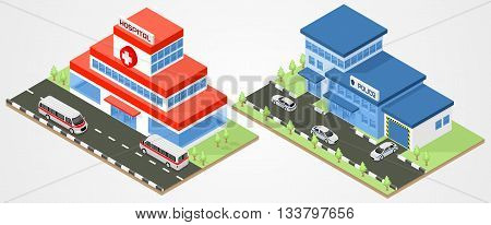 Building police and ambulance department isometric. Vector city buildings