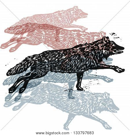 Vector wolves in abstract composition. Linocut wolves in different colors on white background