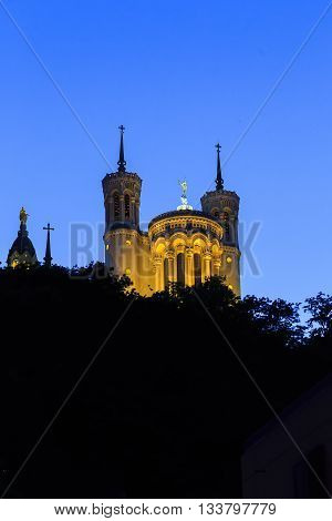 LYON, FRANCE - MAY 16, 2015: This is the Basilica of Notre Dame de Fourviere in the late evening.