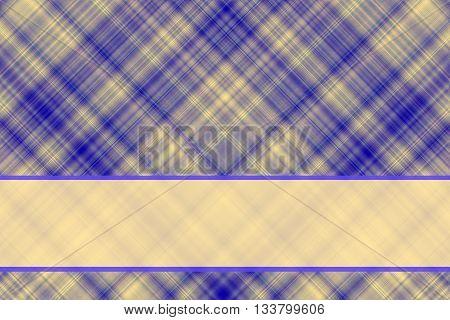 Dark blue and vanilla checkered illustration with vanilla colored banner