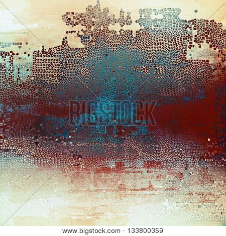 Decorative vintage texture or creative grunge background with different color patterns: yellow (beige); brown; blue; red (orange); cyan; white