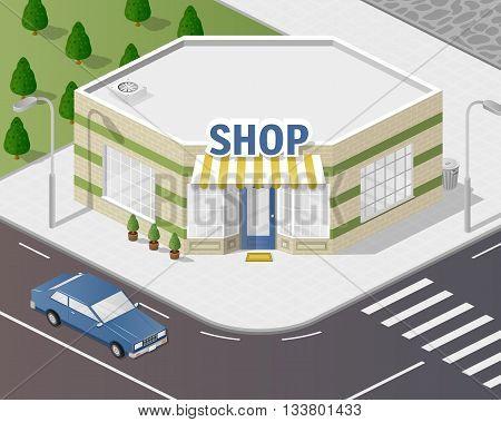 Vector art city, 3d style isometric view, shop
