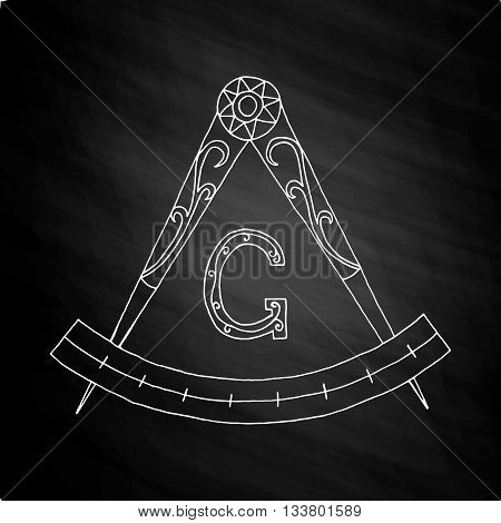 Masonic Freemasonry Emblem Icon Logo. Hand drawn on chalkboard