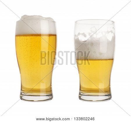 full and half empty pint of beer in glasses