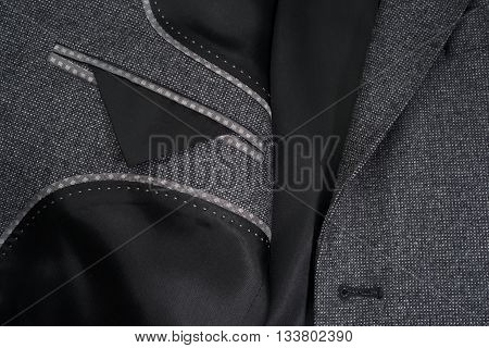 Stitches and inner details of a men's jacket