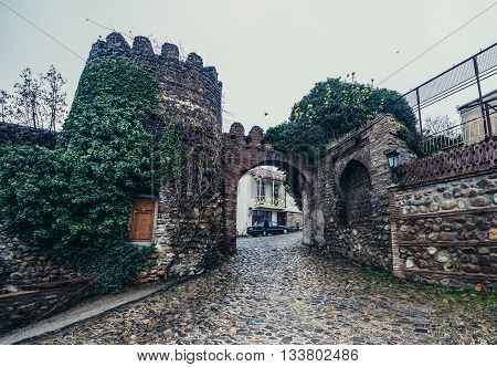 Sighnaghi Georgia - April 24 2015. 18th century fortified walls of Sighnaghi small town in Kakheti district