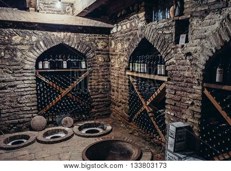Sighnaghi Georgia - April 24 2015. Kvevri vessels for wine production in wine cellar of Pheasant's Tears winery in Sighnaghi small town in Kakheti district