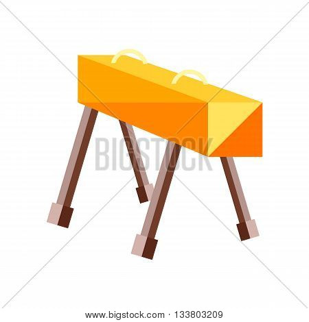 The pommel horse on a white background. Picture style flat