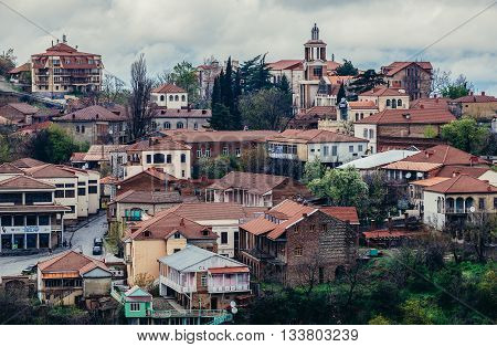 Sighnaghi Georgia - April 24 2015. Aerial view on buildings of Sighnaghi small town in Kakheti district of Georgia
