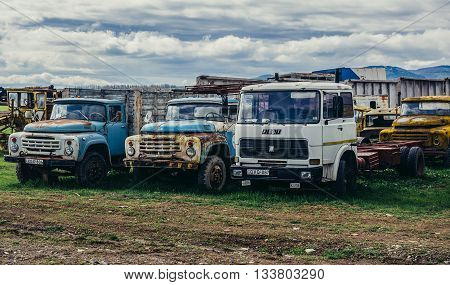 Georgia - April 24 2015. Old ZIL-133 trucks