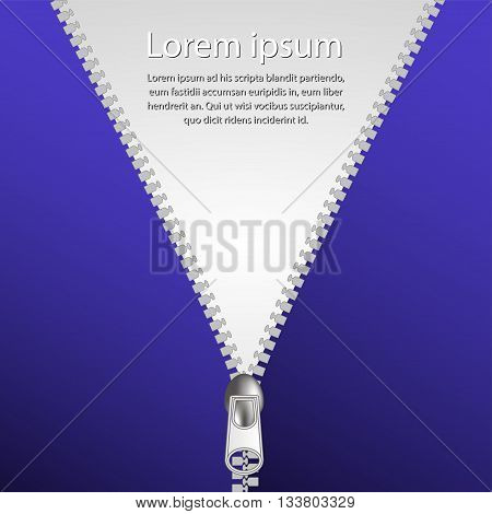 Zip closure over white and blue background vector illustration