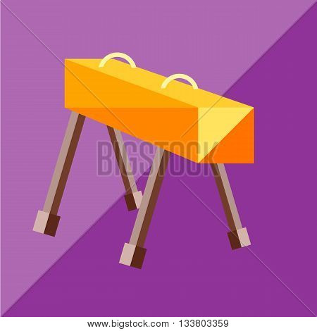 The pommel horse to the two-tone background. Picture style flat