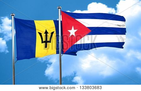 Barbados flag with cuba flag, 3D rendering